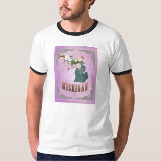 Modern Vintage Michigan State Map-Grape Purple T-Shirt