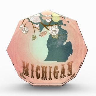 Modern Vintage Michigan State Map- Pastel Peach Award