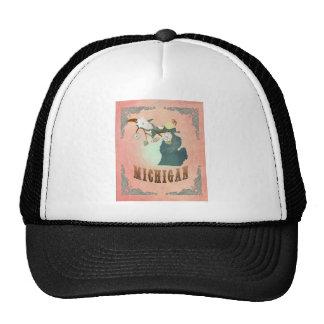 Modern Vintage Michigan State Map- Pastel Peach Trucker Hats