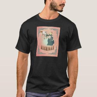 Modern Vintage Michigan State Map- Pastel Peach T-Shirt