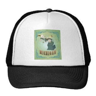 Modern Vintage Michigan State Map – Sage Green Mesh Hats