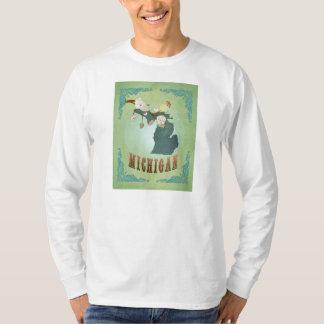Modern Vintage Michigan State Map – Sage Green T-Shirt