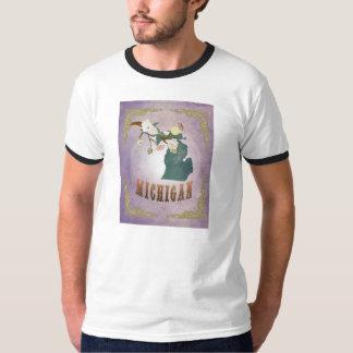 Modern Vintage Michigan State Map- Sweet Lavender T-Shirt