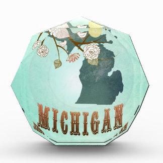 Modern Vintage Michigan State Map – Turquoise Blue Award