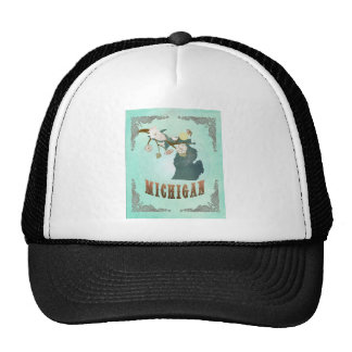 Modern Vintage Michigan State Map – Turquoise Blue Hats