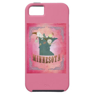 Modern Vintage Minnesota State Map- Candy Pink iPhone 5 Covers