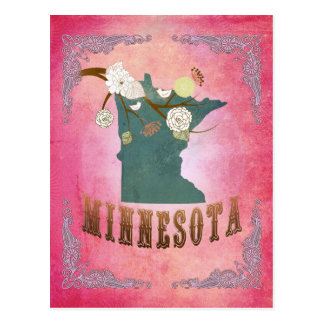Modern Vintage Minnesota State Map- Candy Pink Postcard