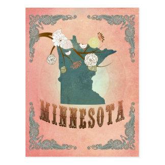Modern Vintage Minnesota State Map- Pastel Peach Postcard