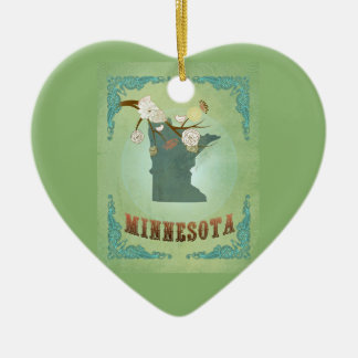 Modern Vintage Minnesota State Map – Sage Green Double-Sided Heart Ceramic Christmas Ornament