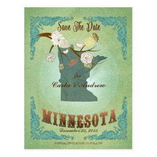 Modern Vintage Minnesota State Map – Sage Green Postcard