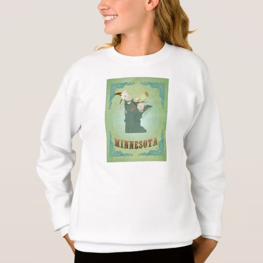 Modern Vintage Minnesota State Map – Sage Green Sweatshirt