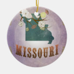 Modern Vintage Missouri State Map- Sweet Lavender Christmas Tree Ornaments