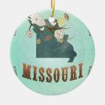 Modern Vintage Missouri State Map – Turquoise Blue Ceramic Ornament