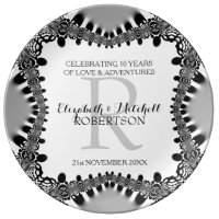 Modern Vintage Monogram Wedding Anniversary Gift Dinner Plate