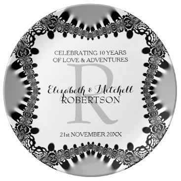 Modern Vintage Monogram Wedding Anniversary Gift Porcelain Plate