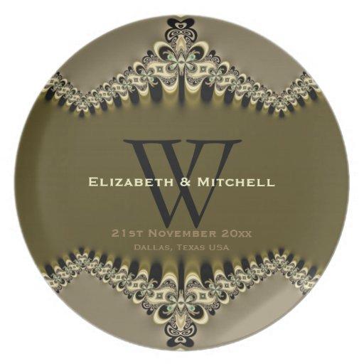 Modern Vintage Monogrammed Wedding Plates