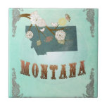 Modern Vintage Montana State Map – Turquoise Blue Tiles