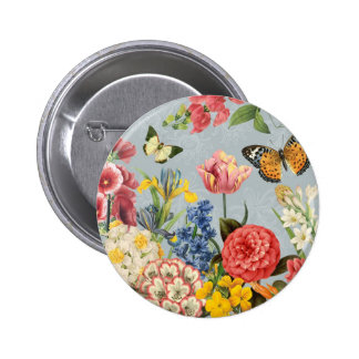 modern vintage multl botanical flowers pinback button