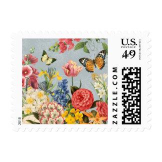 modern vintage multl botanical flowers stamp