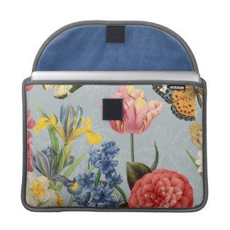 modern vintage multl botanical flowers sleeve for MacBooks