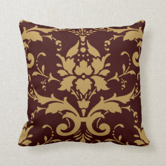 Modern Vintage Mustard Yellow Damask on Brown Thro Throw Pillow