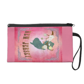 Modern Vintage New Jersey State Map- Candy Pink Wristlet