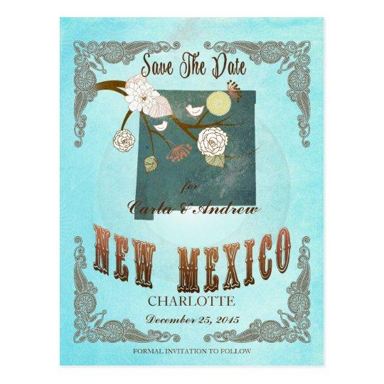 Modern Vintage New Mexico State Map – Aqua Blue Postcard