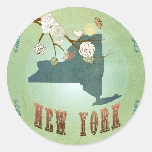 Modern Vintage New York State Map – Sage Green Round Sticker