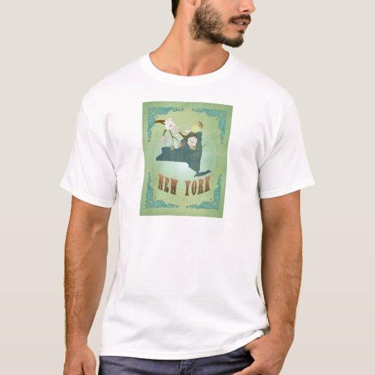Modern Vintage New York State Map – Sage Green T-Shirt