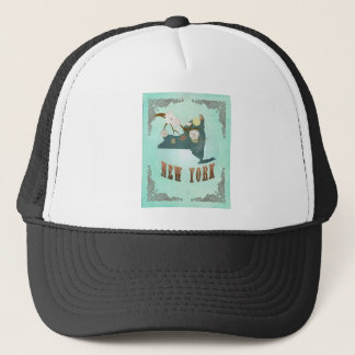 Modern Vintage New York State Map – Turquoise Blue Trucker Hat