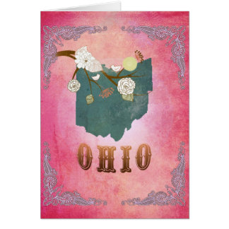 Modern Vintage Ohio State Map- Candy Pink Greeting Cards