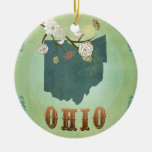 Modern Vintage Ohio State Map – Sage Green Double-Sided Ceramic Round Christmas Ornament