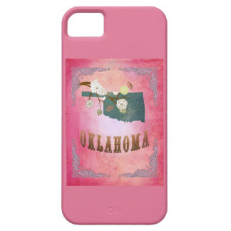 Modern Vintage Oklahoma State Map- Candy Pink iPhone 5 Cases