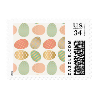 modern vintage pastel graphic easter eggs postage