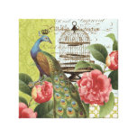 Modern Vintage Peacock stretched canvas Canvas Prints
