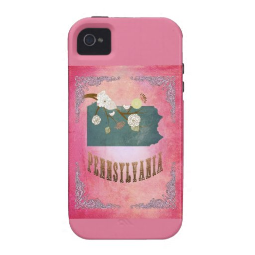 Modern Vintage Pennsylvania State Map- Candy Pink iPhone 4 Covers