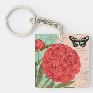 Modern vintage Peony and butterfly Keychain
