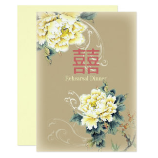 modern vintage peony floral chinese Wedding Card