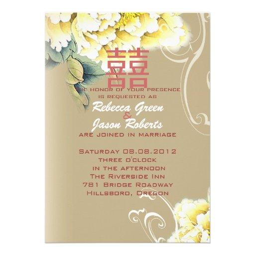 modern vintage peony floral chinese Wedding Custom Invitations