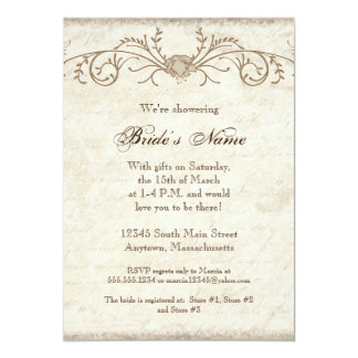 Modern Vintage Peony Floral Swirls, Bridal Shower Card