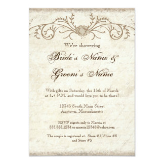 Modern Vintage Peony Floral Swirls Couple's Shower Card