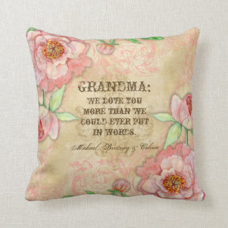 Modern Vintage Peony Floral Swirls Mother Pillow