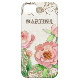 Modern Vintage Peony Floral Swirls Personalized iPhone SE/5/5s Case