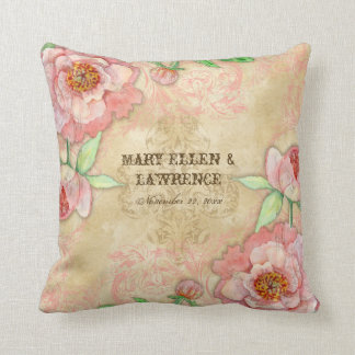 Modern Vintage Peony Floral Wedding Anniversary Throw Pillow
