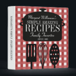 """Modern Vintage Personalized Recipes 3 Ring Binder<br><div class=""""desc"""">A whimsical blend of retro/vintage with a modern,  personalized touch. Pretty red gingham background,  soup pot and kitchen utensils decorate the front.</div>"""