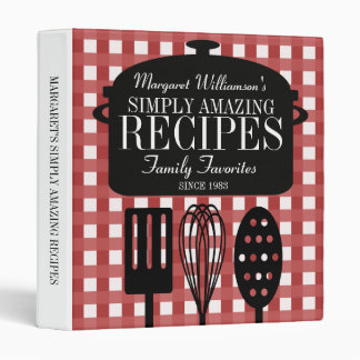 Modern Vintage Personalized Recipes 3 Ring Binder