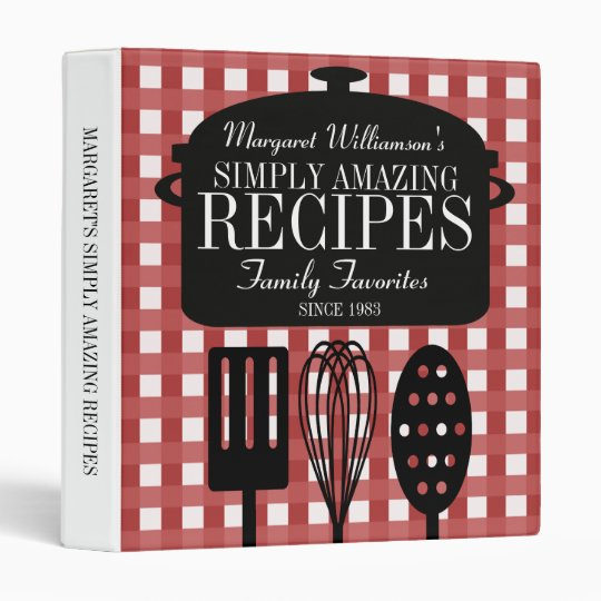 Modern Vintage Personalized Recipes 3 Ring Binder