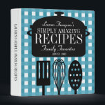 """Modern Vintage Personalized Recipes 3 Ring Binder<br><div class=""""desc"""">A whimsical blend of retro/vintage with a modern,  personalized touch. Muted denim-blue gingham background,  soup pot and kitchen utensils decorate the front.</div>"""