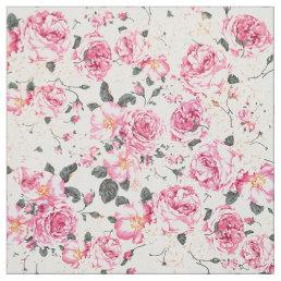 Modern vintage pink black roses floral pattern fabric