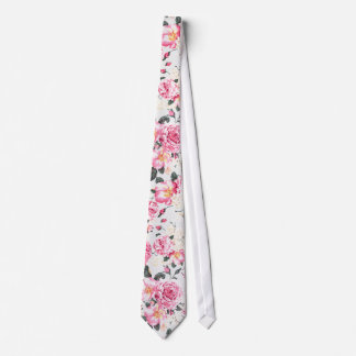 Modern vintage pink black roses floral pattern neck tie